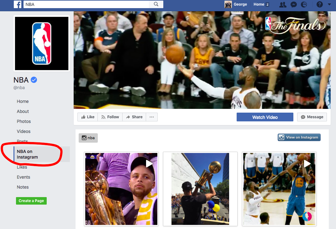 NBA's Facebook account