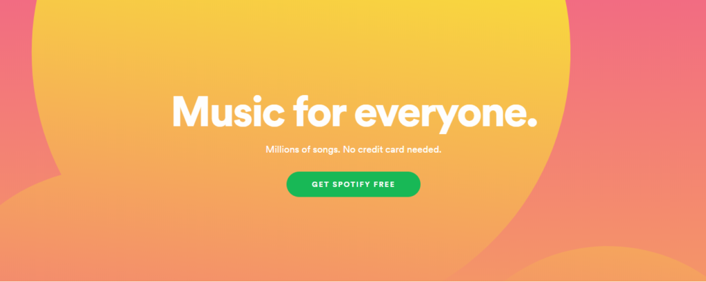 Spotify's simple yet effective call to action placement