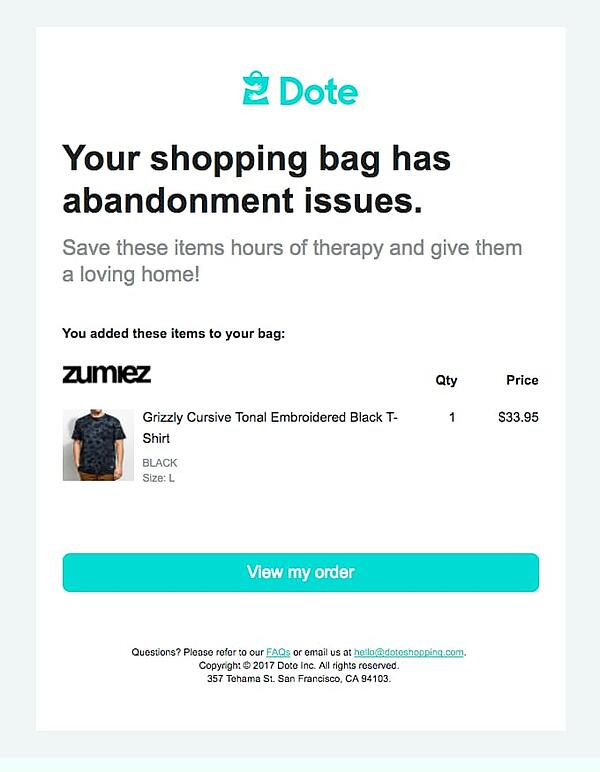 Cart abandonment email humour