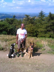 Temi with his dogs, Bobby and Yoko on Malvern Hills